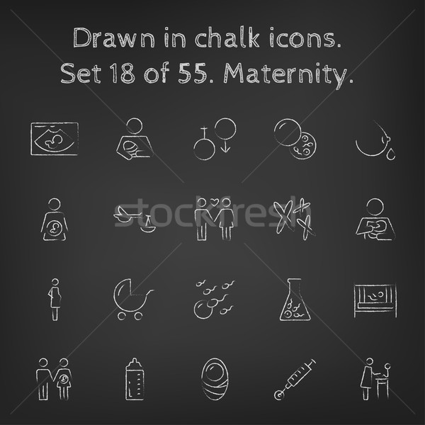 Maternity icon set drawn in chalk. Stock photo © RAStudio