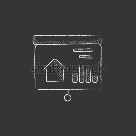 Stockfoto: Presentatie · projector · scherm · icon · krijt