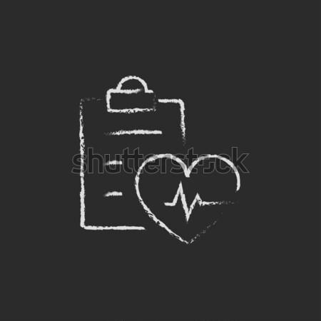 Szívdobbanás lemez ikon rajzolt kréta kézzel rajzolt Stock fotó © RAStudio