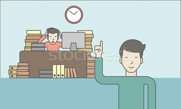 Ostateczny termin biznesmen posiedzenia pracy biuro patrząc Zdjęcia stock © RAStudio