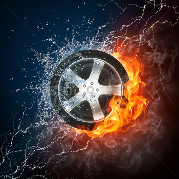 Car Wheel in Flame and Water Stock photo © RAStudio