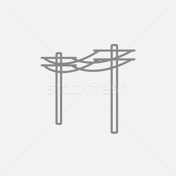Hoogspanning lijn icon web mobiele Stockfoto © RAStudio