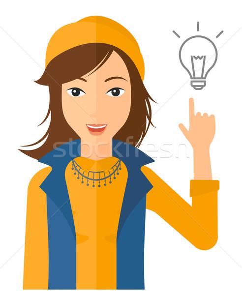 女性 ポインティング 電球 指 ベクトル デザイン ストックフォト © RAStudio