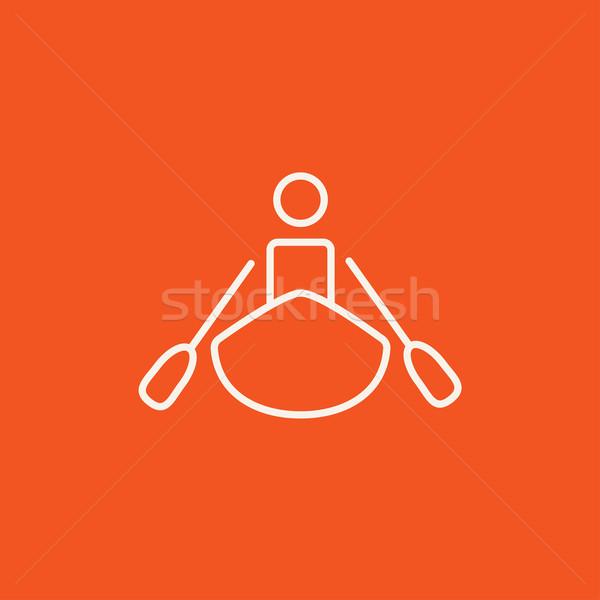 человека линия икона веб мобильных Сток-фото © RAStudio