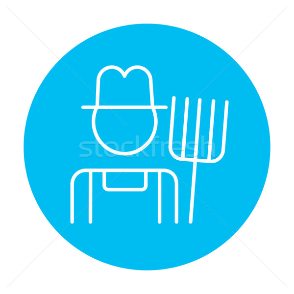 Farmer with pitchfork line icon. Stock photo © RAStudio