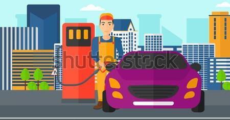 Kadın doldurma yukarı yakıt araba vektör Stok fotoğraf © RAStudio