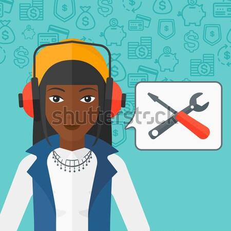 Exploitant technische ondersteuning hoofdtelefoon ingesteld toespraak vierkante Stockfoto © RAStudio