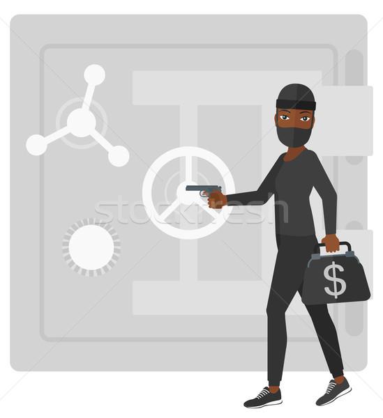 Soyguncu tabanca güvenli profesyonel hırsız siyah Stok fotoğraf © RAStudio