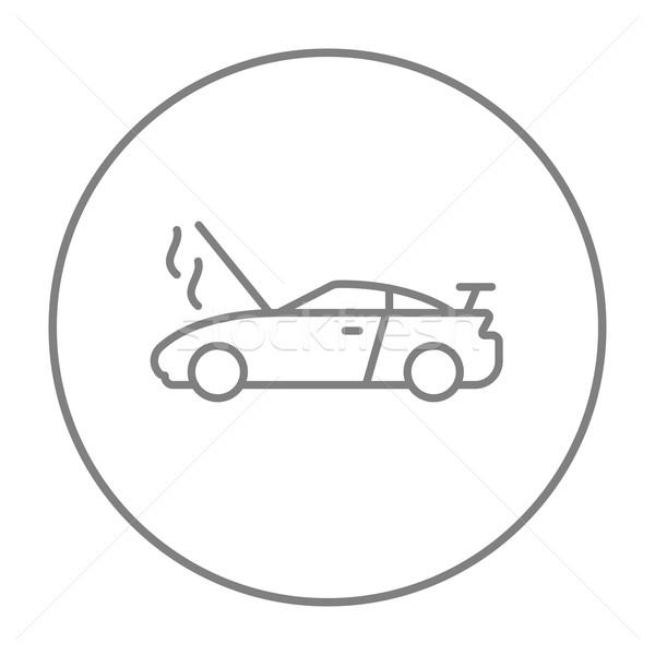 Broken car with open hood line icon. Stock photo © RAStudio