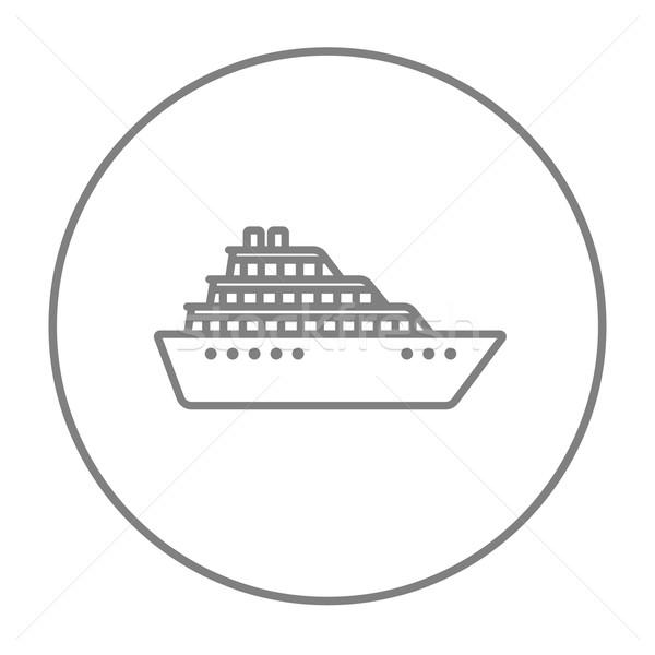 Statek wycieczkowy line ikona internetowych komórkowych infografiki Zdjęcia stock © RAStudio