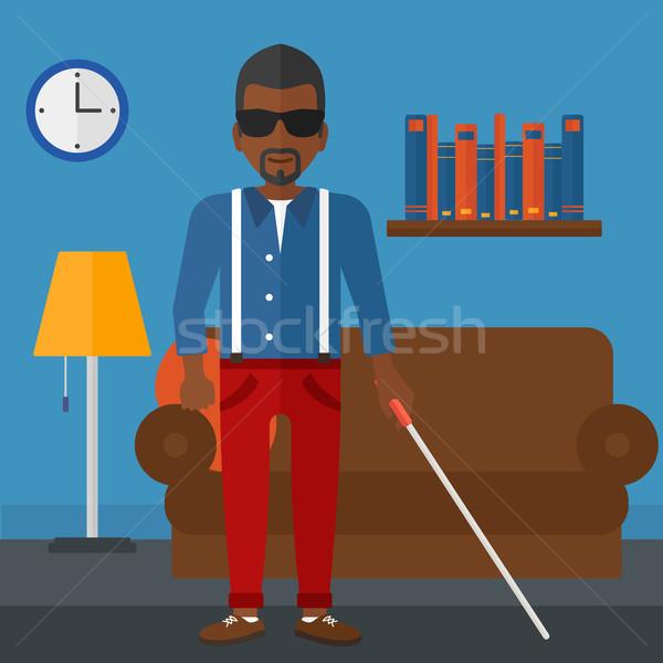 Niewidomych człowiek Stick ciemne okulary stałego Zdjęcia stock © RAStudio