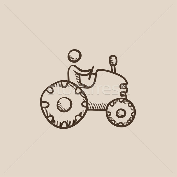 Man rijden trekker schets icon web Stockfoto © RAStudio