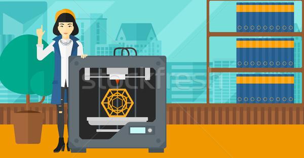 Mulher três impressora asiático em pé 3D Foto stock © RAStudio