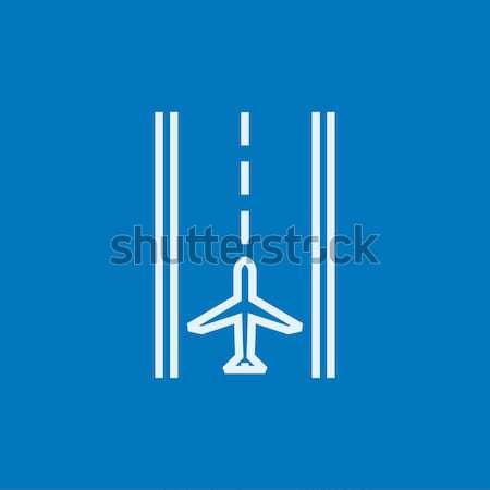 Luchthaven landingsbaan lijn icon hoeken web Stockfoto © RAStudio