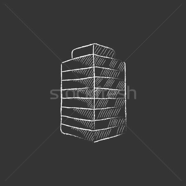 Kantoorgebouw krijt icon vector Stockfoto © RAStudio