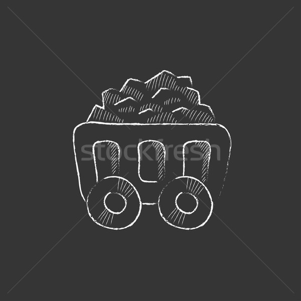 Mining coal cart. Drawn in chalk icon. Stock photo © RAStudio