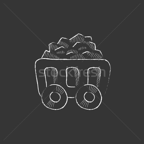 Bányászat szén kosár rajzolt kréta ikon Stock fotó © RAStudio