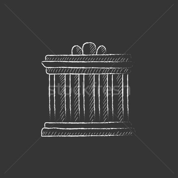Acropolis of Athens. Drawn in chalk icon. Stock photo © RAStudio