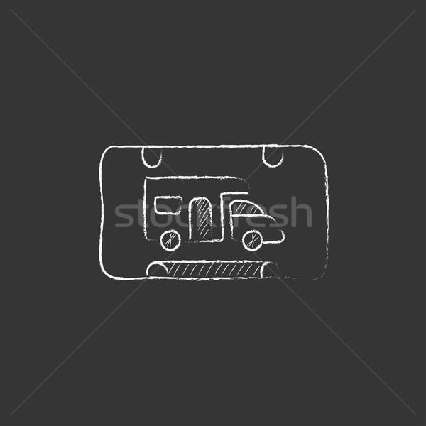 RV camping sign. Drawn in chalk icon. Stock photo © RAStudio