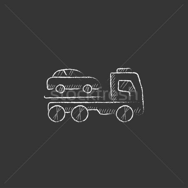 Car towing truck. Drawn in chalk icon. Stock photo © RAStudio