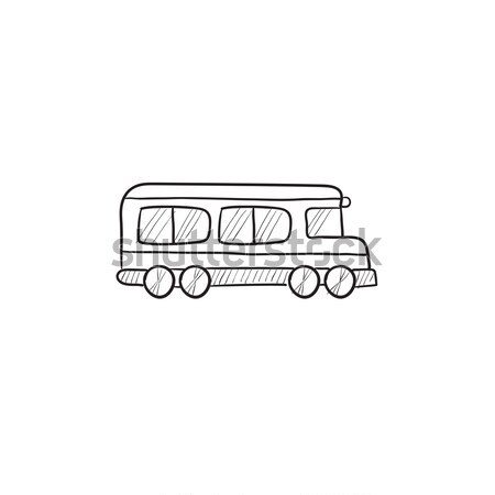 Okul otobüsü kroki ikon vektör yalıtılmış Stok fotoğraf © RAStudio