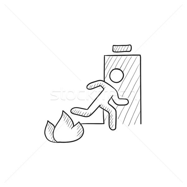 чрезвычайных огня выход двери эскиз икона Сток-фото © RAStudio