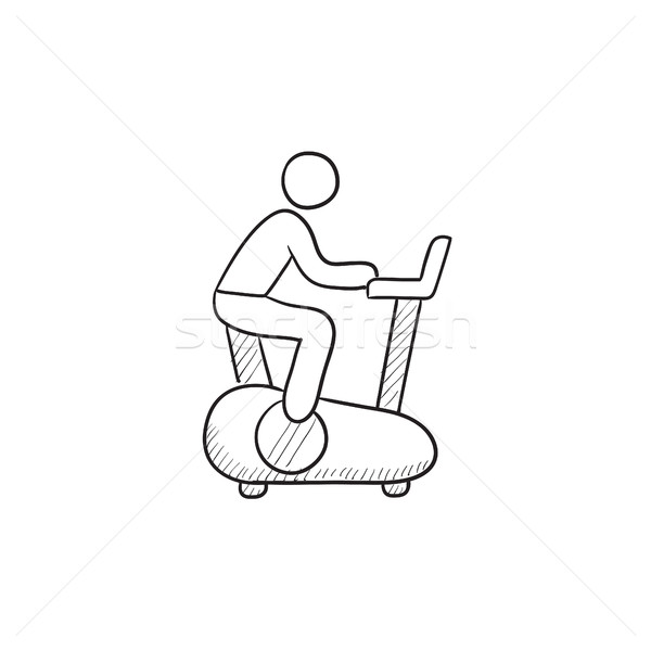 Man training on exercise bike sketch icon. Stock photo © RAStudio