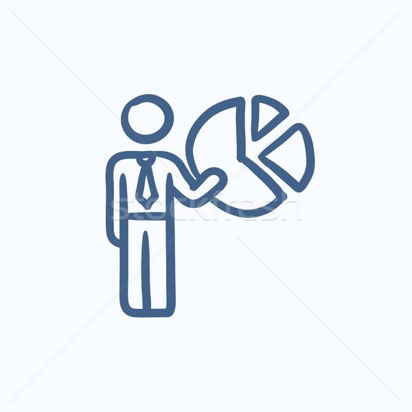 ビジネスマン ポインティング 円グラフ スケッチ アイコン ベクトル ストックフォト © RAStudio