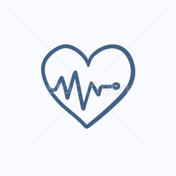 Szív kardiogram rajz ikon vektor izolált Stock fotó © RAStudio