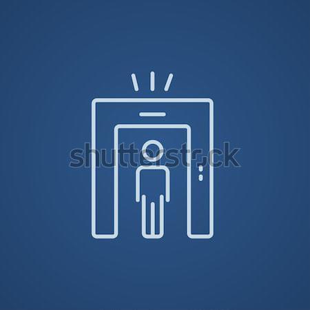 Hombre metal detector puerta boceto icono Foto stock © RAStudio