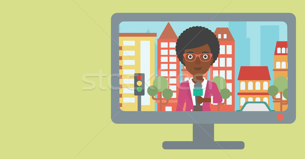 Televizyon ayarlamak yayın görüşme haber muhabir Stok fotoğraf © RAStudio