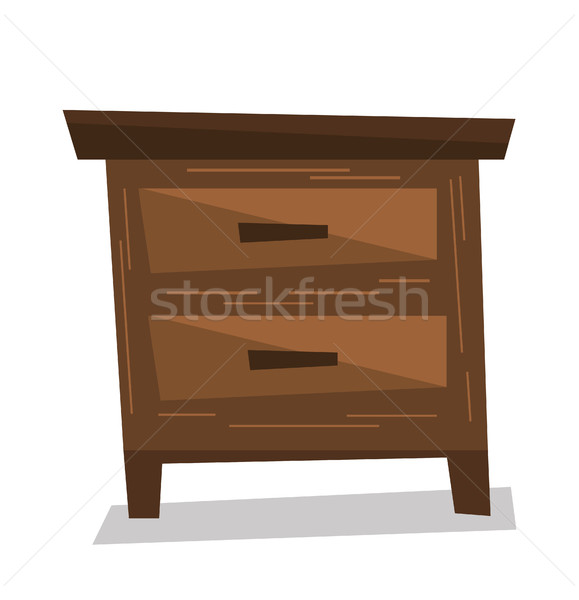 Brown bedside table vector illustration. Stock photo © RAStudio