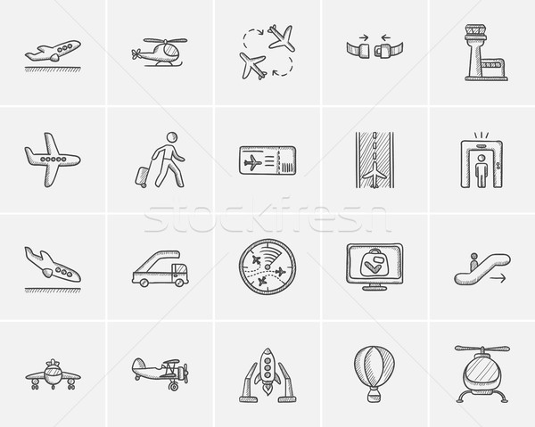 Air transport sketch icon set. Stock photo © RAStudio