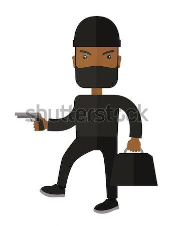 Homme homme noir noir masque déguiser Photo stock © RAStudio