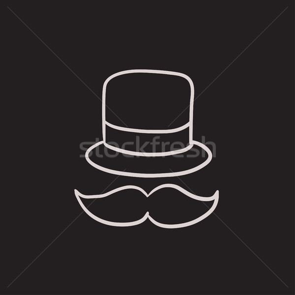 Hat and mustache sketch icon. Stock photo © RAStudio
