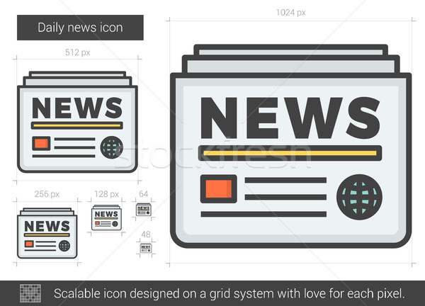 Dagelijks nieuws lijn icon vector geïsoleerd Stockfoto © RAStudio