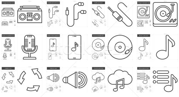 Stockfoto: Muziek · lijn · vector · geïsoleerd · witte