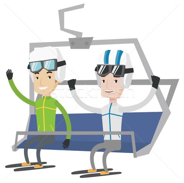 Dois feliz esquiar recorrer caucasiano homens Foto stock © RAStudio