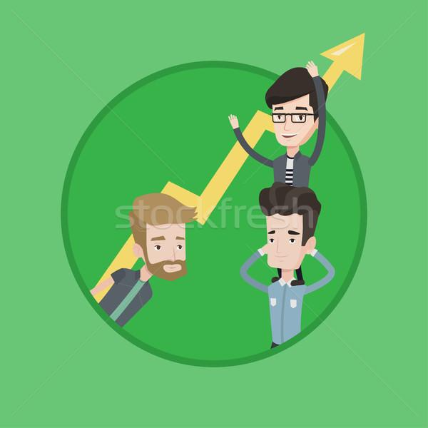 Drie zakenlieden pijl omhoog kaukasisch Stockfoto © RAStudio