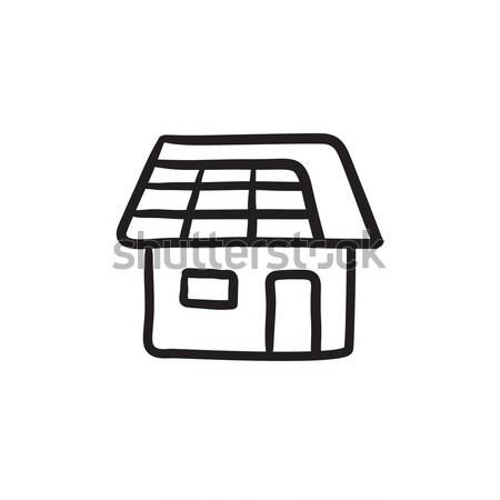 Huis zonnepaneel schets icon vector geïsoleerd Stockfoto © RAStudio