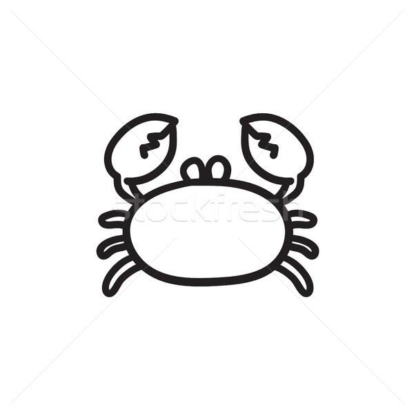 Crab schiţă icoană vector izolat Imagine de stoc © RAStudio