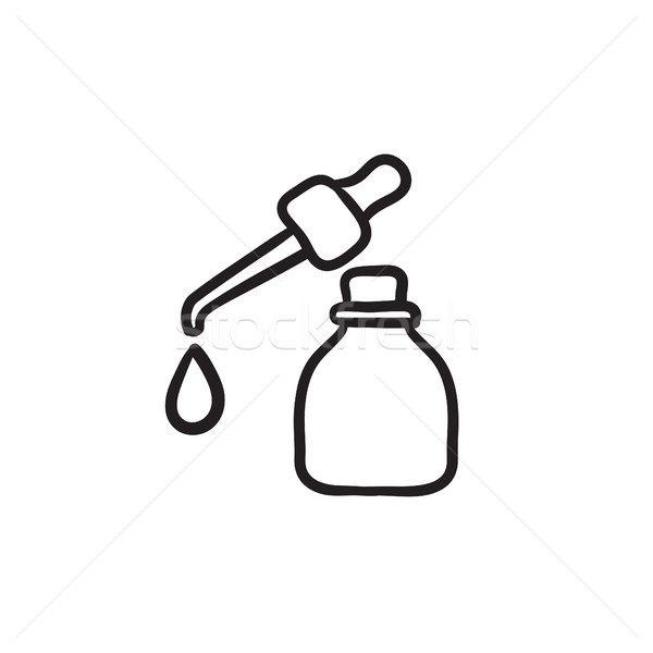 Bottle of essential oil and pipette sketch icon. Stock photo © RAStudio