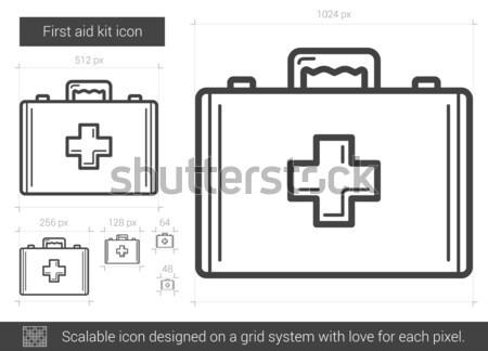 Eerste hulp uitrusting lijn icon vector geïsoleerd Stockfoto © RAStudio