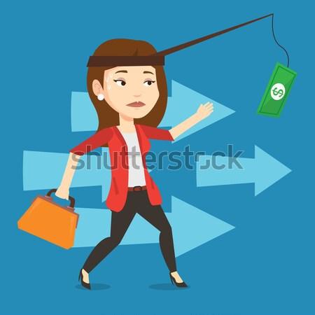 Femme d'affaires argent canne à pêche motivation jeunes Photo stock © RAStudio