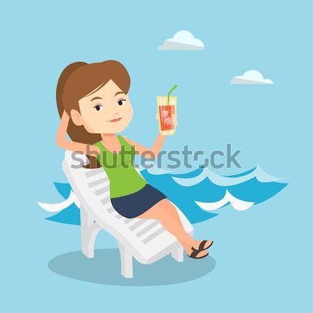 Kadın rahatlatıcı şezlong kafkas oturma içme Stok fotoğraf © RAStudio