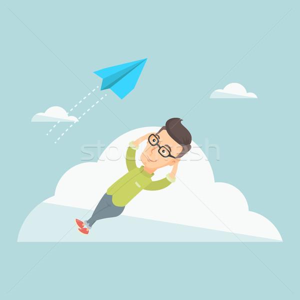 Business man lying on cloud vector illustration. Stock photo © RAStudio