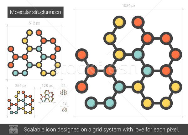 молекулярный структуры линия икона вектора изолированный Сток-фото © RAStudio