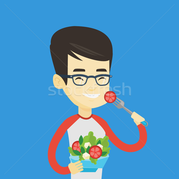Uomo mangiare sano vegetali insalata asian felice Foto d'archivio © RAStudio