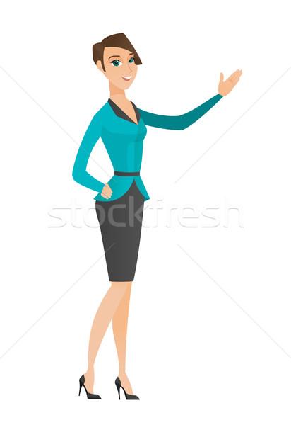 ストックフォト: 白人 · ビジネス女性 · 方向 · 笑みを浮かべて