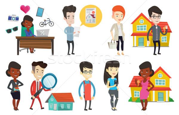 Vektor Set Immobilien Haus Eigentümer Immobilienmakler Stock foto © RAStudio
